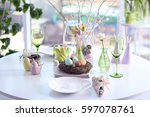 beautiful easter setting... | Shutterstock . vector #597078761