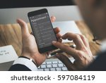 man checking appointment on... | Shutterstock . vector #597084119