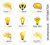 social innovation logos... | Shutterstock .eps vector #597084704