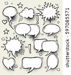 a set of comic speech bubbles... | Shutterstock .eps vector #597085571