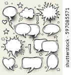 a set of comic speech bubbles... | Shutterstock .eps vector #597085571