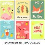 vector card on the summer theme   Shutterstock .eps vector #597093107