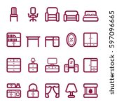 set of furniture icons. vector... | Shutterstock .eps vector #597096665