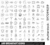 100 breakfast icons set in... | Shutterstock .eps vector #597099059