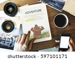 travel journey explorer... | Shutterstock . vector #597101171