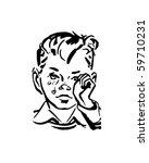 crying boy   retro clip art | Shutterstock .eps vector #59710231