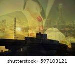 double exposure of building ... | Shutterstock . vector #597103121