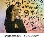 double exposure woman portrait...   Shutterstock . vector #597106094
