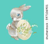 embroidery bunny with easter... | Shutterstock .eps vector #597106901