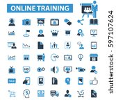 online training icons  | Shutterstock .eps vector #597107624