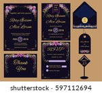 vector set of invitation cards... | Shutterstock .eps vector #597112694