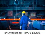 interior view of a steel... | Shutterstock . vector #597113201
