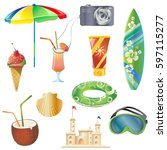 set with vector elements that... | Shutterstock .eps vector #597115277