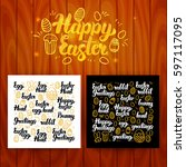 happy easter lettering... | Shutterstock .eps vector #597117095