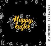 easter gold and black design.... | Shutterstock .eps vector #597117839