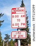 tall sign shows that there is... | Shutterstock . vector #597119399