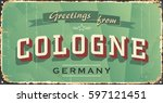 vintage tin sign with german... | Shutterstock .eps vector #597121451