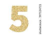 gold glitter alphabet number 5. ... | Shutterstock .eps vector #597124721