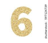 gold glitter alphabet number 6. ... | Shutterstock .eps vector #597124739