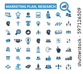 marketing plan  research icons  | Shutterstock .eps vector #597126509