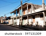 old colorful houses in baracoa  ... | Shutterstock . vector #597131309