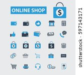 online shop icons  | Shutterstock .eps vector #597143171
