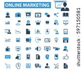 online marketing icons | Shutterstock .eps vector #597150581