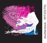 sport fitness poster. abstract... | Shutterstock .eps vector #597151751