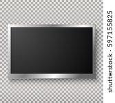 tv  modern blank screen lcd ... | Shutterstock .eps vector #597155825
