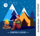 camping flat set with hiking... | Shutterstock .eps vector #597155969