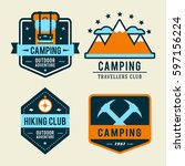 camping flat set with hiking... | Shutterstock .eps vector #597156224
