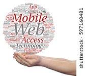 concept or conceptual mobile... | Shutterstock . vector #597160481