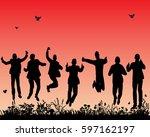 vector  isolated  silhouette of ... | Shutterstock .eps vector #597162197