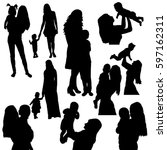 vector  isolated  silhouette of ... | Shutterstock .eps vector #597162311