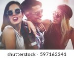 happy group of young people... | Shutterstock . vector #597162341