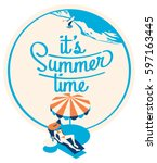 summer holiday and summer camp... | Shutterstock .eps vector #597163445