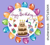 festive background  birthday ... | Shutterstock .eps vector #597165644