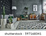 living room interior with... | Shutterstock . vector #597168341
