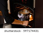 preparation baking the pie. man'... | Shutterstock . vector #597174431