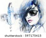 woman in coat.  abstract woman... | Shutterstock . vector #597175415