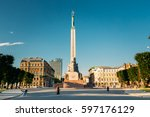 riga  latvia   july 1  2016 ... | Shutterstock . vector #597176129