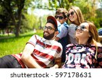 group of young people having... | Shutterstock . vector #597178631