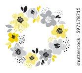 contemporary spring floral... | Shutterstock .eps vector #597178715
