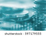 double exposure rows of coins... | Shutterstock . vector #597179555