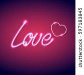 neon icon love vector... | Shutterstock .eps vector #597183845