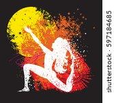 sport fitness poster. abstract... | Shutterstock .eps vector #597184685