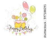 happy birthday in pink color  ... | Shutterstock .eps vector #597188291