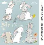 Stock vector set with cute little cartoon hares 597191624