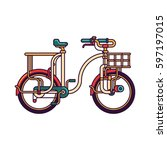 colorful bicycle with basket... | Shutterstock .eps vector #597197015