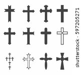 cross vector icons. set of... | Shutterstock .eps vector #597205271